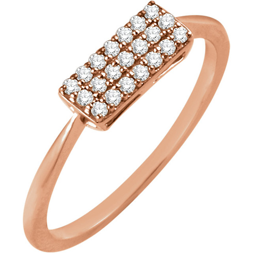 14kt Rose Gold 1/6 ct Diamond Rectangle Cluster Ring