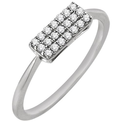 14kt White Gold 1/6 ct Diamond Rectangle Cluster Ring