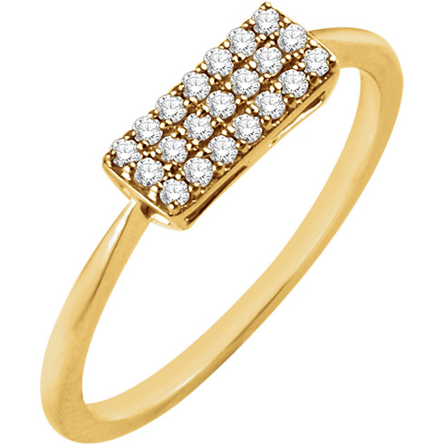 14kt Yellow Gold 1/6 ct Diamond Rectangle Cluster Ring