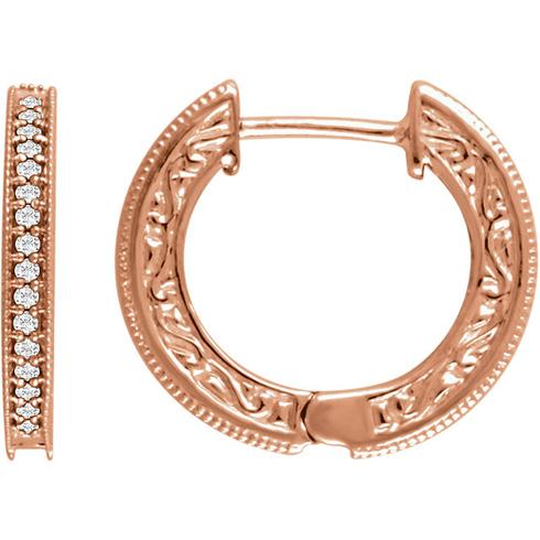 14kt Rose Gold 1/5 ct Diamond Milgrain Hoop Earrings