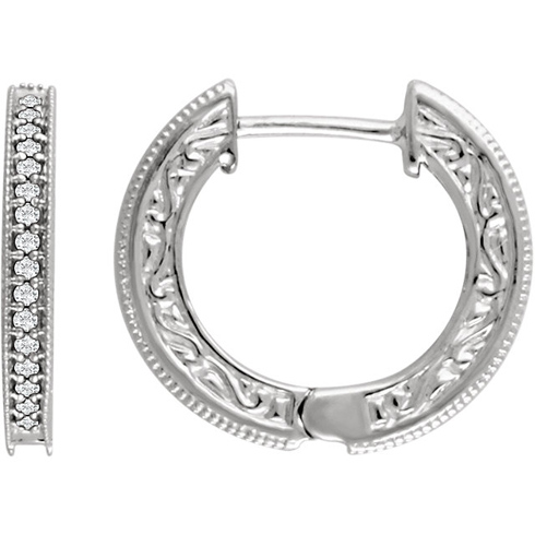 14kt White Gold 1/5 ct Diamond Milgrain Hoop Earrings