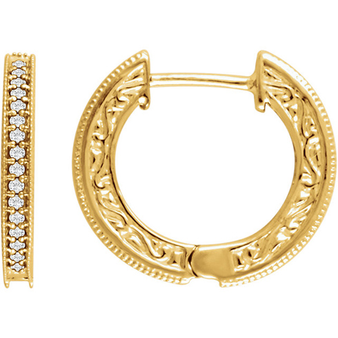 14kt Yellow Gold 1/5 ct Diamond Milgrain Hoop Earrings