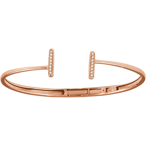 14kt Rose Gold 1/6 ct Diamond Bar Hinged Cuff Bracelet