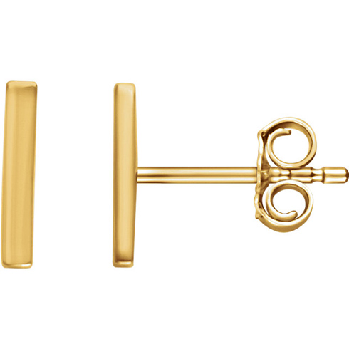 14kt Yellow Gold Bar Earrings