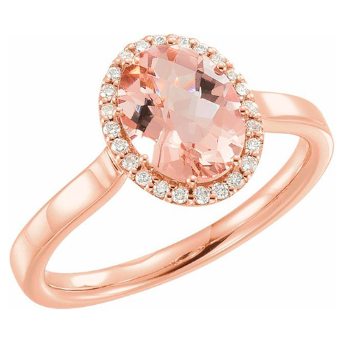 14k Rose Gold 1 1/2 ct Oval Morganite Halo Ring with Diamonds