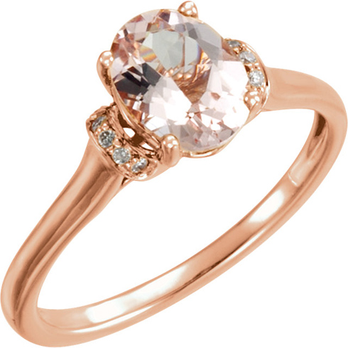 14kt Rose Gold 1.2 ct Oval Morganite & .05 ct tw Diamond Ring