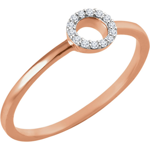 14kt Rose Gold .06 ct Diamond Open Circle Stackable Ring
