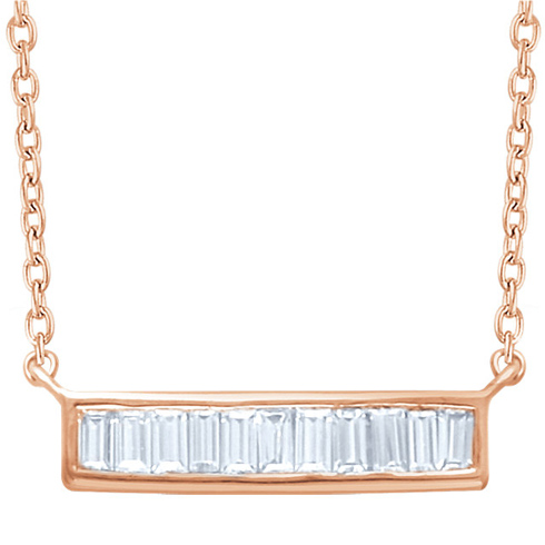 14kt Rose Gold 1/4 ct Diamond Baguette 18in Necklace