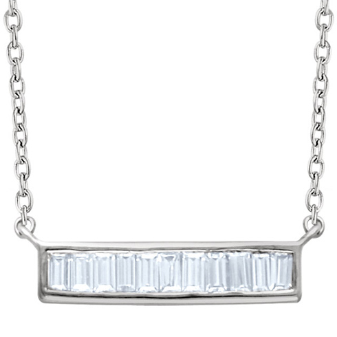 14kt White Gold 1/4 ct Diamond Baguette 18in Necklace