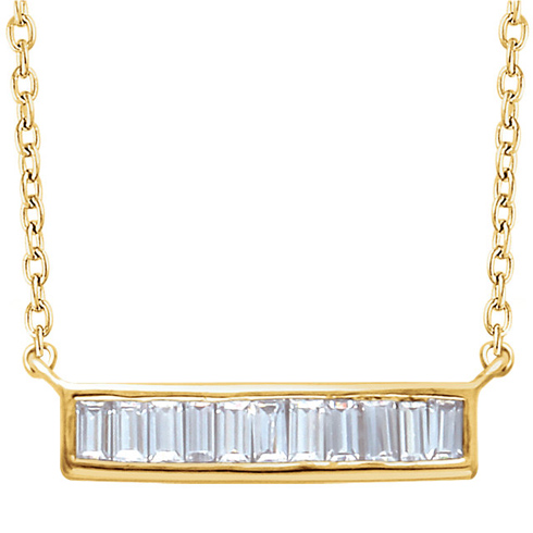 14kt Yellow Gold 1/4 ct Diamond Baguette 18in Necklace