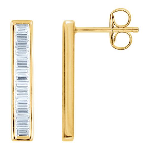 14kt Yellow Gold 1/3 ct Diamond Baguette Bar Earrings