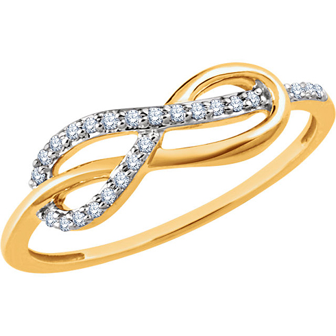 14kt Yellow Gold 1/10 ct Diamond Infinity Knot Ring