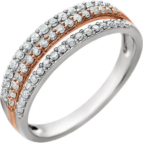 14kt White and Rose Gold 3/8 ct Diamond Three Row Ring