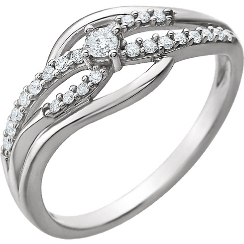 14kt White Gold 1/5 ct Diamond Bypass Promise Ring