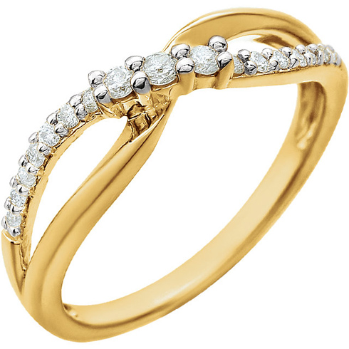 14kt Yellow Gold 1/5 ct Diamond Slender Bypass Ring