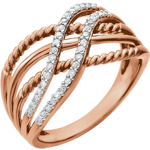 14kt Rose Gold 1/6 ct Diamond Rope Bypass Ring