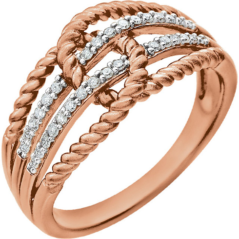14kt Rose Gold 1/6 ct Diamond Intertwined Rope Ring