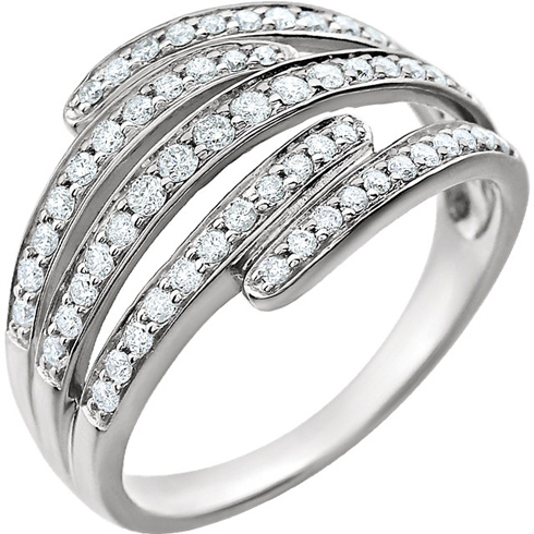 14kt White Gold 1/2 ct Diamond Rollercoaster Ring