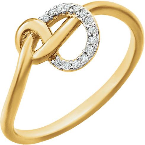 14kt Yellow Gold 1/20 ct Diamond Knot Ring
