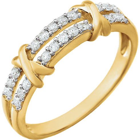 14kt Yellow Gold 1/4 ct Diamond Ring with Split Shank and X Accents