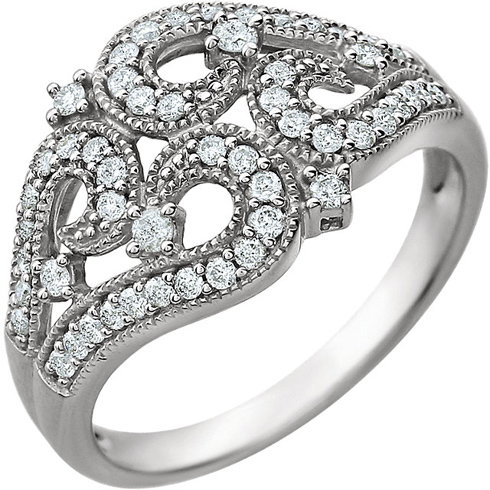 14kt White Gold 3/8 ct Diamond Fancy Vintage Style Ring