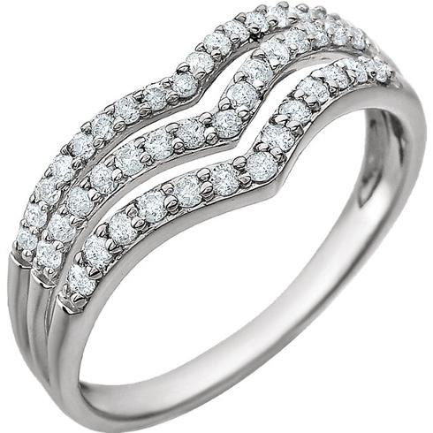 14kt White Gold 3/8 ct Diamond Triple Row V Ring