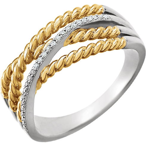 14kt Two-tone Gold .07 ct Diamond Rope Criss Cross Design Ring