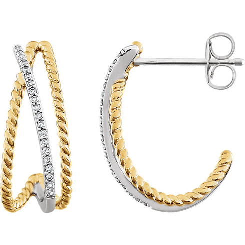 14kt Two-tone Gold 1/10 ct Diamond Earrings with Rope Accents