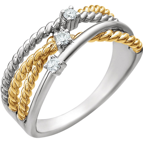 14kt White Gold and 14kt Yellow Gold-plated 1/10 ct Diamond Rope Ring
