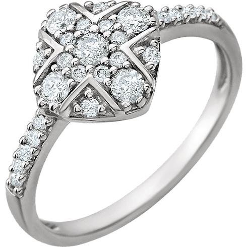 14kt White Gold 3/8 ct Diamond Parcel Cluster Ring