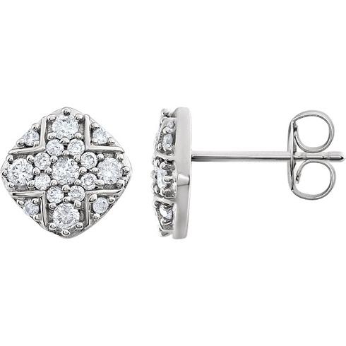 14kt White Gold 3/8 ct Diamond Geometric Cluster  Earrings