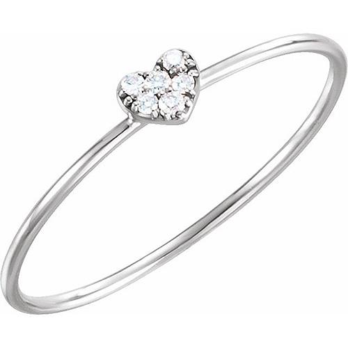 14kt White Gold .03 ct Diamond Heart Cluster Ring
