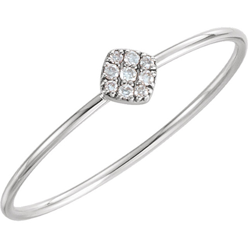 14kt White Gold 1/8 ct Diamond Square Cluster Ring