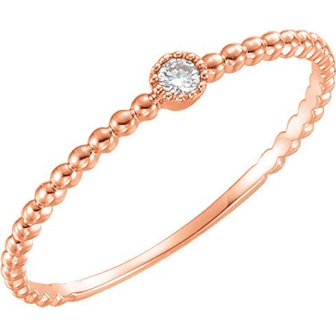 14kt Rose Gold .03 ct Diamond Stackable Bead Texture Ring