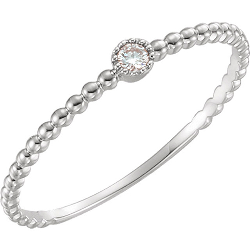 14kt White Gold .03 ct Diamond Stackable Bead Texture Ring