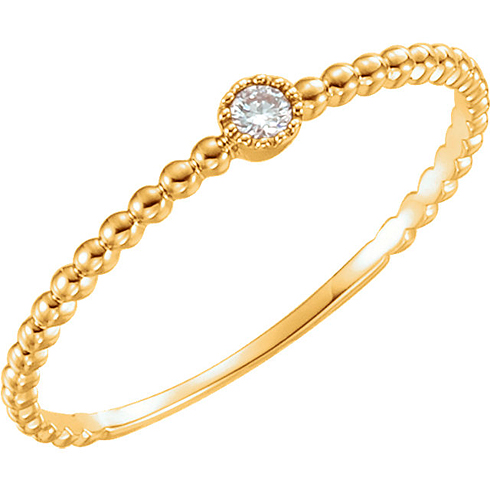 14kt Yellow Gold .03 ct Diamond Stackable Bead Texture Ring
