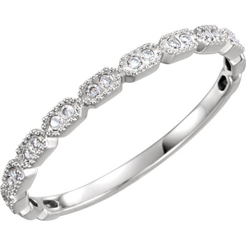 14kt White Gold .08 ct Diamond Stackable Ring with Beaded Texture
