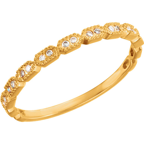 14kt Yellow Gold .08 ct Diamond Stackable Ring with Beaded Texture