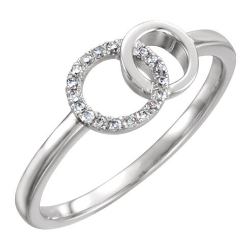 14kt White Gold 1/6 ct Diamond Interlocking Circle Ring