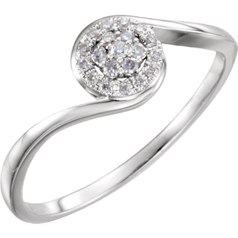 14kt White Gold 1/10 ct Diamond Cluster Ring