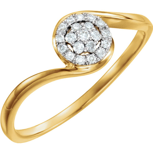 14kt Yellow Gold 1/10 ct Diamond Cluster Ring