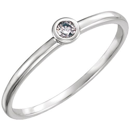 14kt White Gold .06 ct Diamond Stackable Bezel Ring