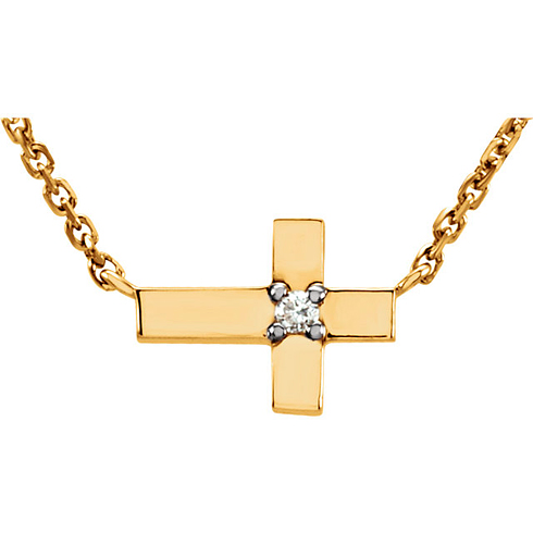 14kt Yellow Gold .01 ct Diamond Sideways Cross 18in Necklace
