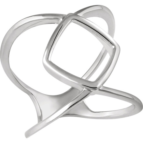 14kt White Gold Pointed Cross Form Ring