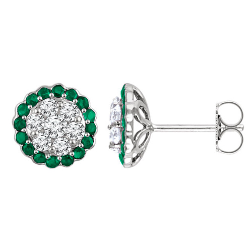 14k White Gold 5/8 ct tw Diamond Earrings with Emerald Accents