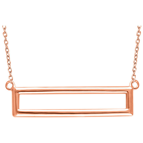 14kt Rose Gold Open Rectangle on 18in Necklace
