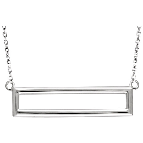 14kt White Gold Open Rectangle on 18in Necklace