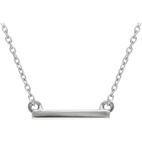 14kt White Gold Mini Bar 18in Necklace