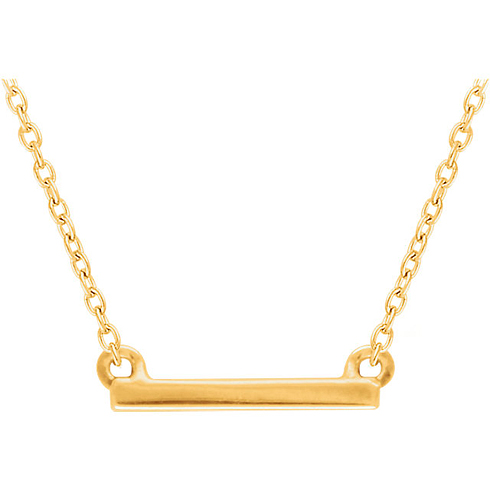 14kt Yellow Gold Mini Bar 18in Necklace