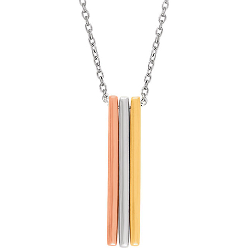 14kt Tri-color Gold Triple Bar 18in Necklace